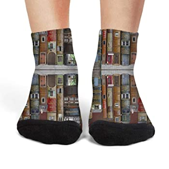 Womens Athletic Crew Socks book alley Moisture Wicking Casual Socks