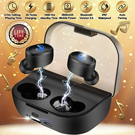 e644f24a600 Wireless Earbuds with Charging Case,Bluetooth Earbuds with Mic for  Running,Wireless Bluetooth Earphones