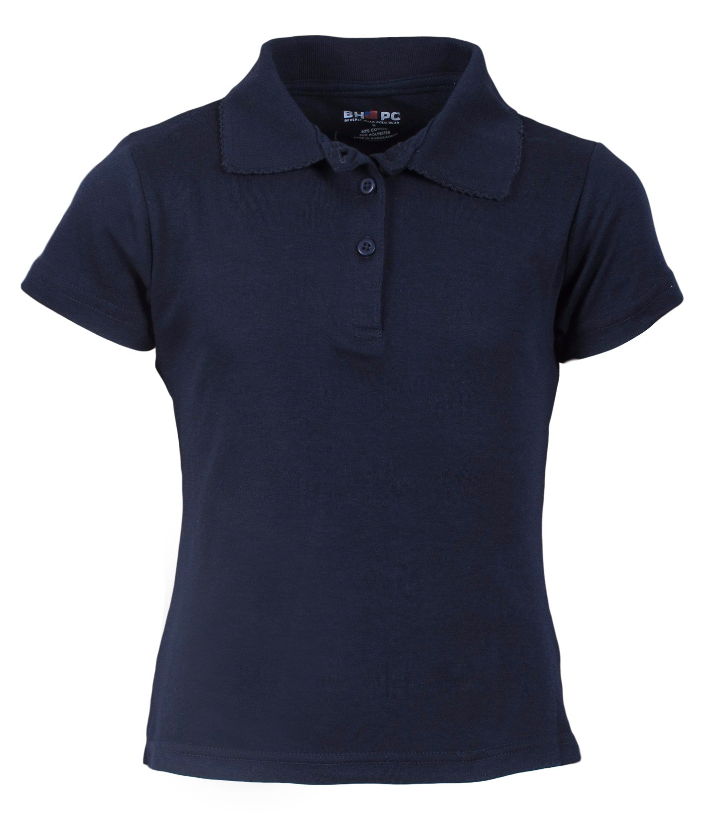 Beverly Hills Polo Club 3 Pack of Girls' Short Sleeve Interlock Uniform Polo Shirts, Size 14, Navy' by Beverly Hills Polo Club (Image #2)
