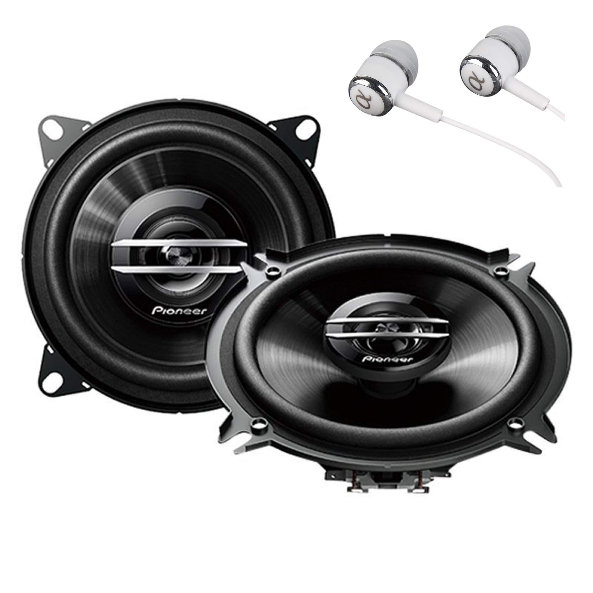 Pioneer TS-G1020S 420 Watts Max Power 4'' 2-Way G-Series Coaxial Full Range Car Audio Stereo Speakers/Free ALPHASONIK Earbuds