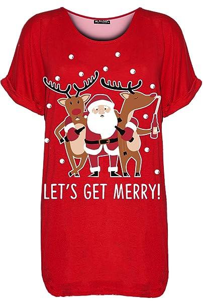 b23ab7560c5 Be Jealous Womens Ladies Christmas Baggy Reindeer Pudding Oversized Batwing  Xmas T Shirt UK Plus Size 8-22  Amazon.co.uk  Clothing
