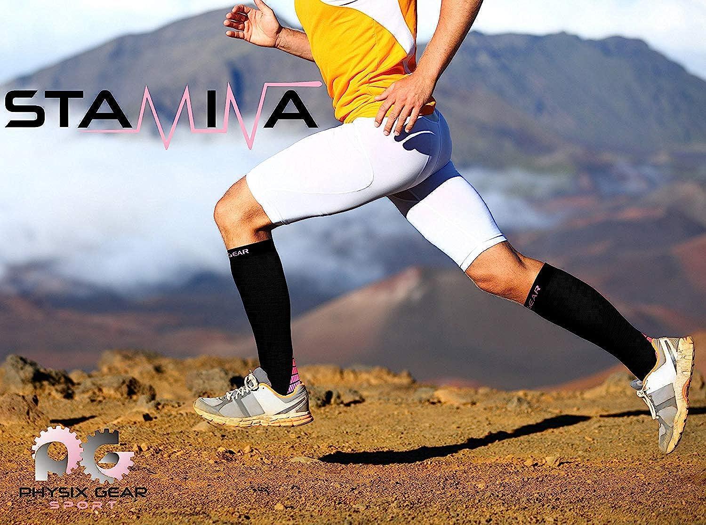 Physix Gear Sport Compression Socks for Men /& Women 20-30 mmHg 2 Pairs Low Cut /& 1 Pair Knee High