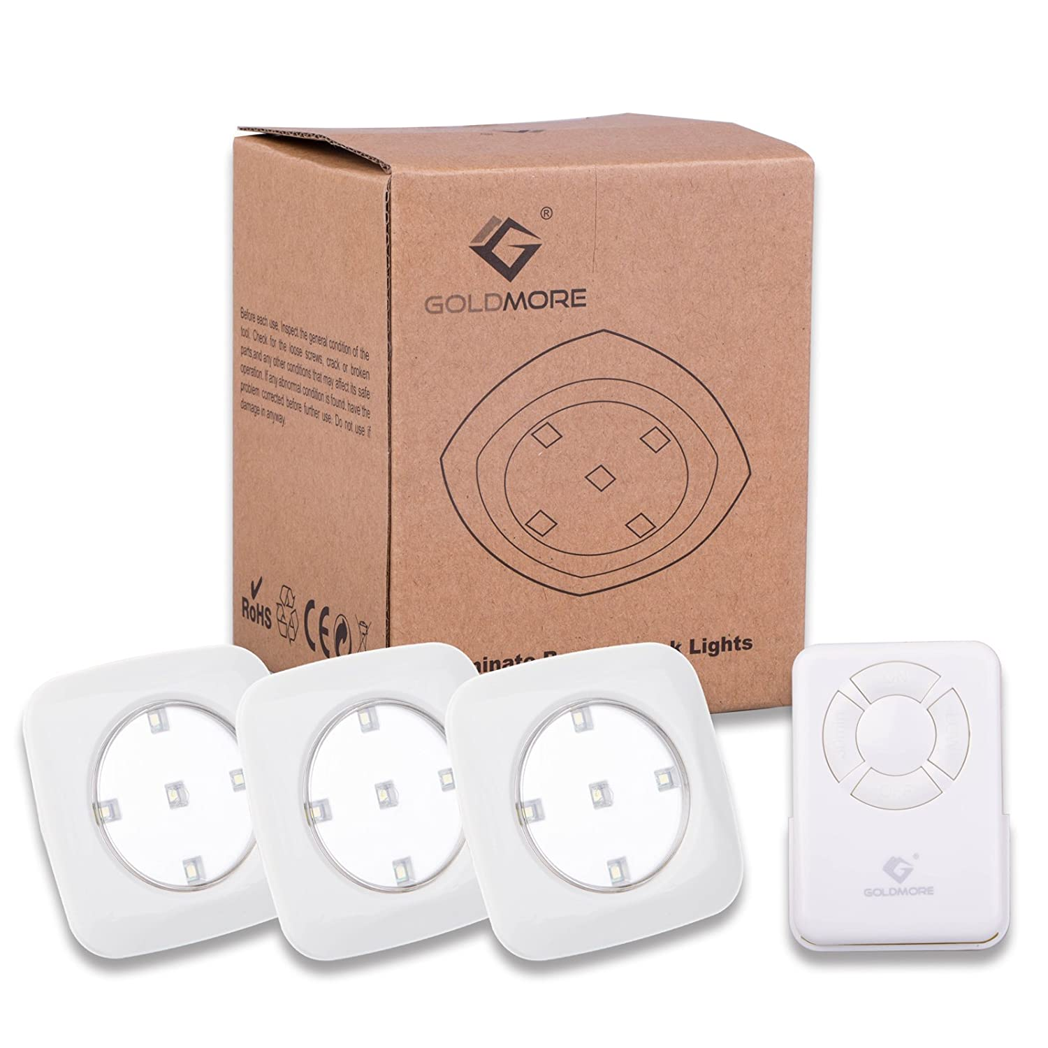 3 pack tap light 5 led battery powered wireless nightlight remote