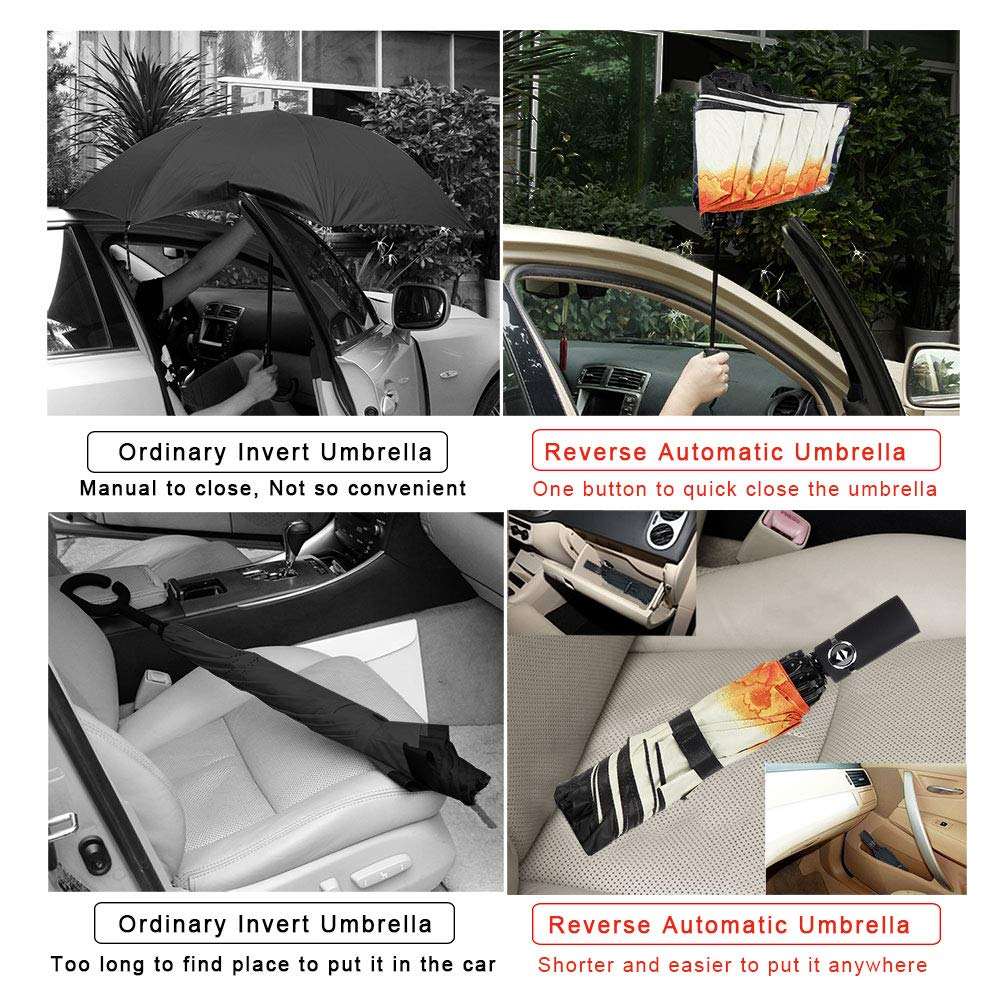 Umbrella Windproof Travel Umbrella Compact Folding Reverse ...