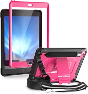 BRAECN iPad 8th Gen 2020 / 7th Gen 2019 Case with Shoulder Strap,Stand,Screen Protector,Pencil Holder,Storage Pouch,Pencil Cap Holder, Full-Body Rugged Cover for iPad 8th/7th Generation 10.2 Inch-Pink