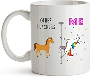 YouNique Designs Teacher Coffee Mug, 11 Ounces, Unicorn Mug, Teacher Gifts for Men and Women (White)