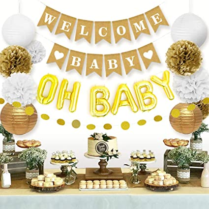 Amazon Com Sweet Baby Co Baby Shower Decorations Neutral For Boy Or Girl With Welcome Baby Banner Oh Baby Balloon Lanterns Flower Pom Poms Circle Glitter Garland Rustic Gold And White Gender