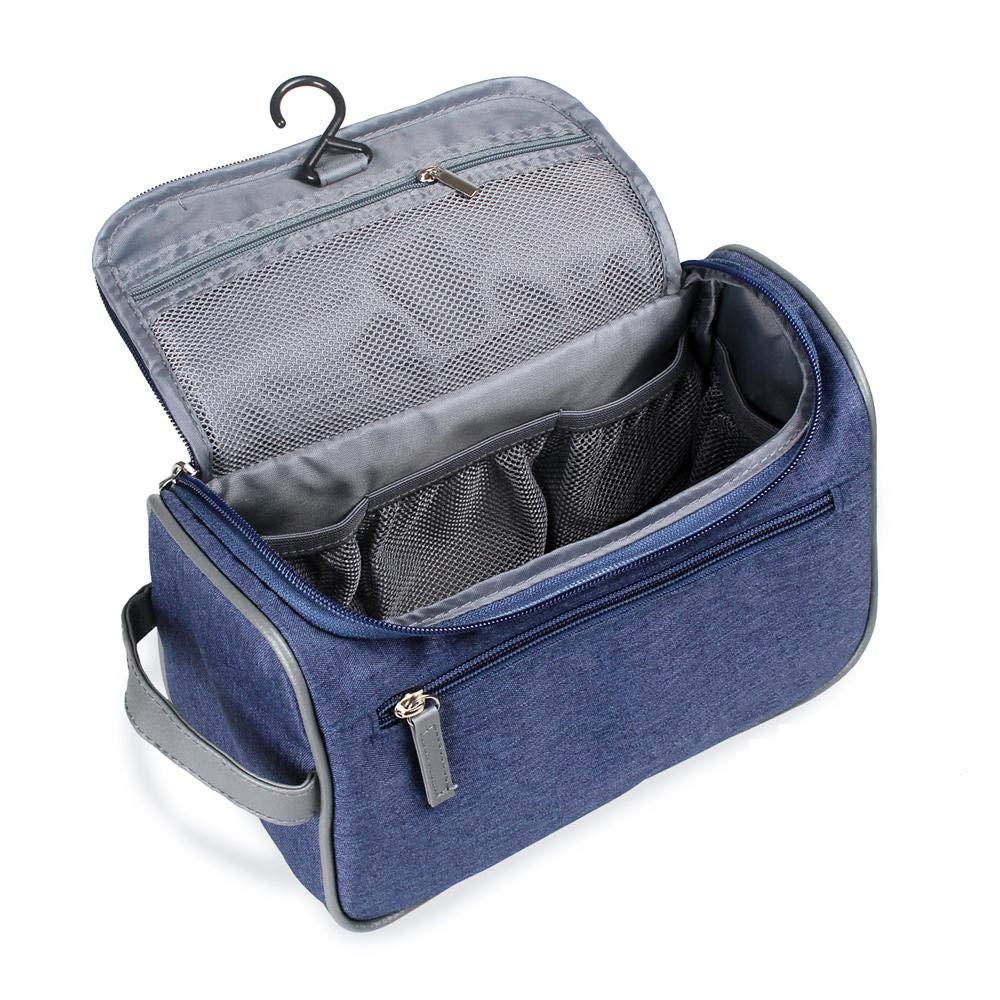 Travel Toiletry Bag Organizer, Jiemei Hanging Wash Bag Shaving Dopp Kit for Men Women, 2 Pack Portable Coat Hangers as GIFT (Blue)
