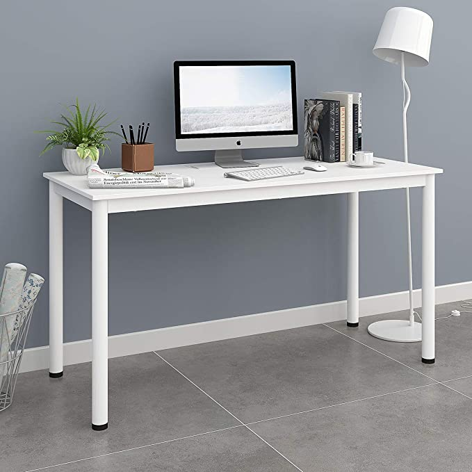 """Review Computer Desk 55"""" Large Size - Home Office Desk with Cable Organizer/Whit"""