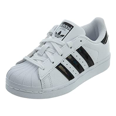 hot sales 955bd 52a4b adidas Originals Kids Unisex Superstar Iridescent C (Little Kid)  White Black White