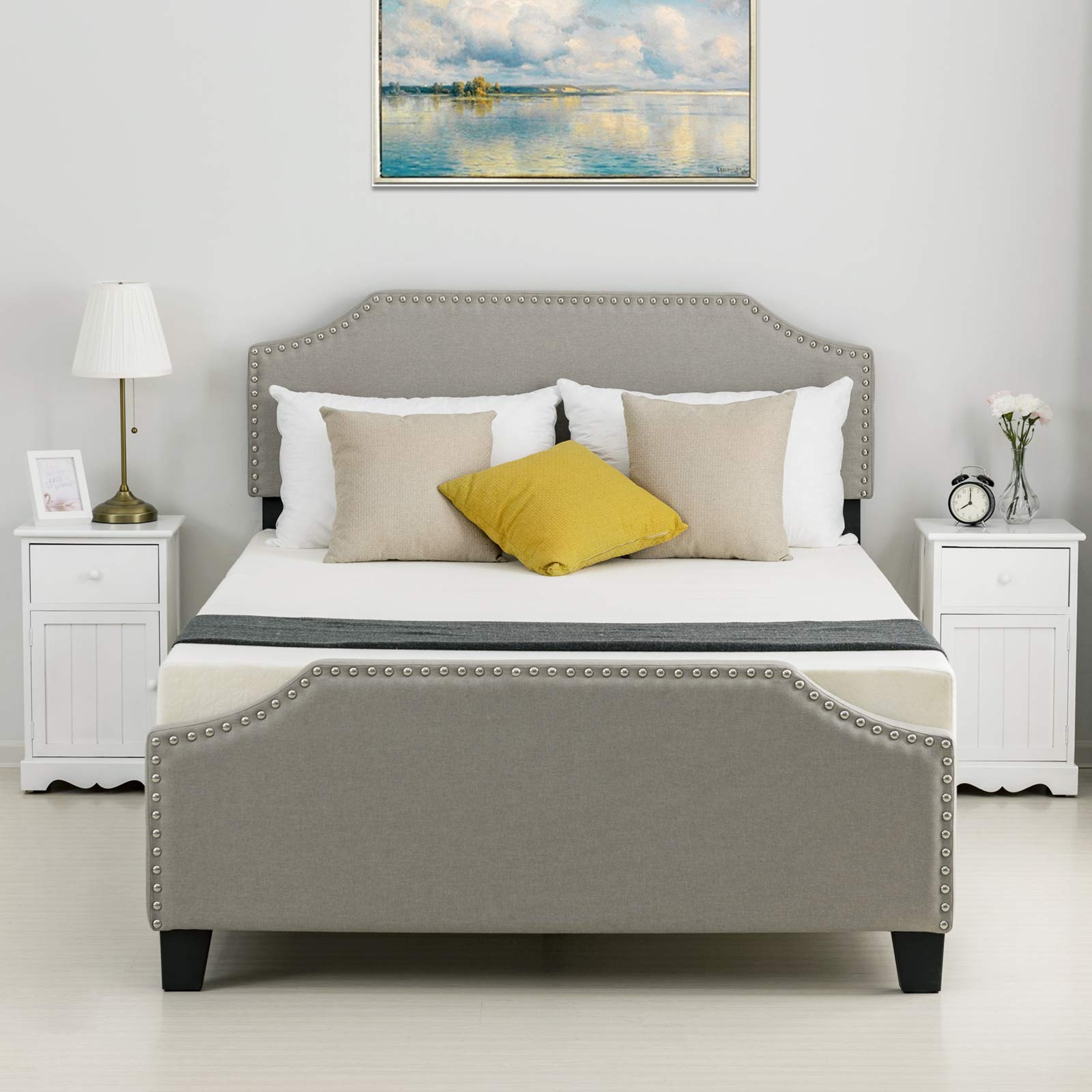 LAGRIMA Upholstered Linen Platform Bed | Curved Shape Headboard, Footboard and Metal Frame with Sticky Wood Slat Support | Khaki, Queen