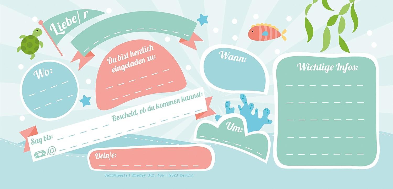 12 Tarjetas De Invitación Con Diseño De Una Sirena De