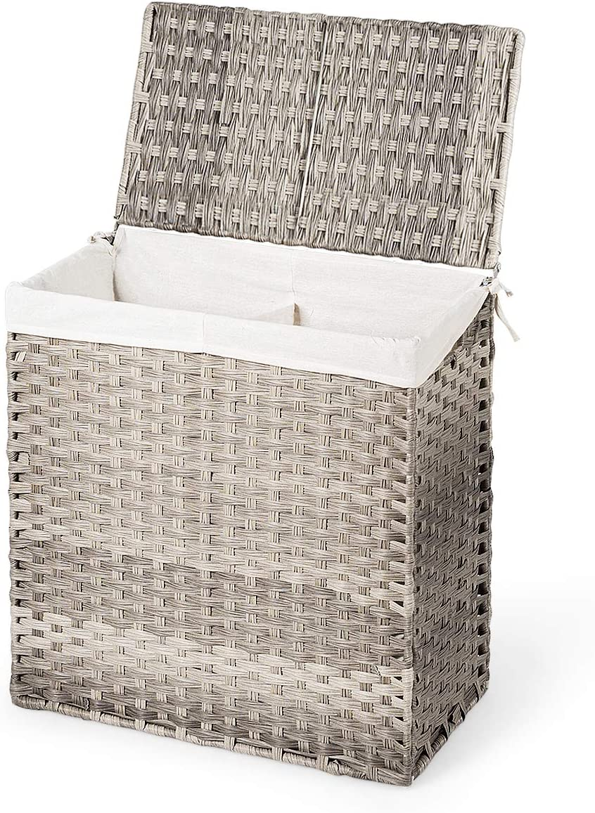 "Giantex Laundry Hamper Hand-Woven Synthetic Rattan Laundry Basket W/Removable Washable Liner Bag, Lid and Handles Foldable and Portable Rectangular Laundry Basket (23"" x 13"" x 24"", Gray)"