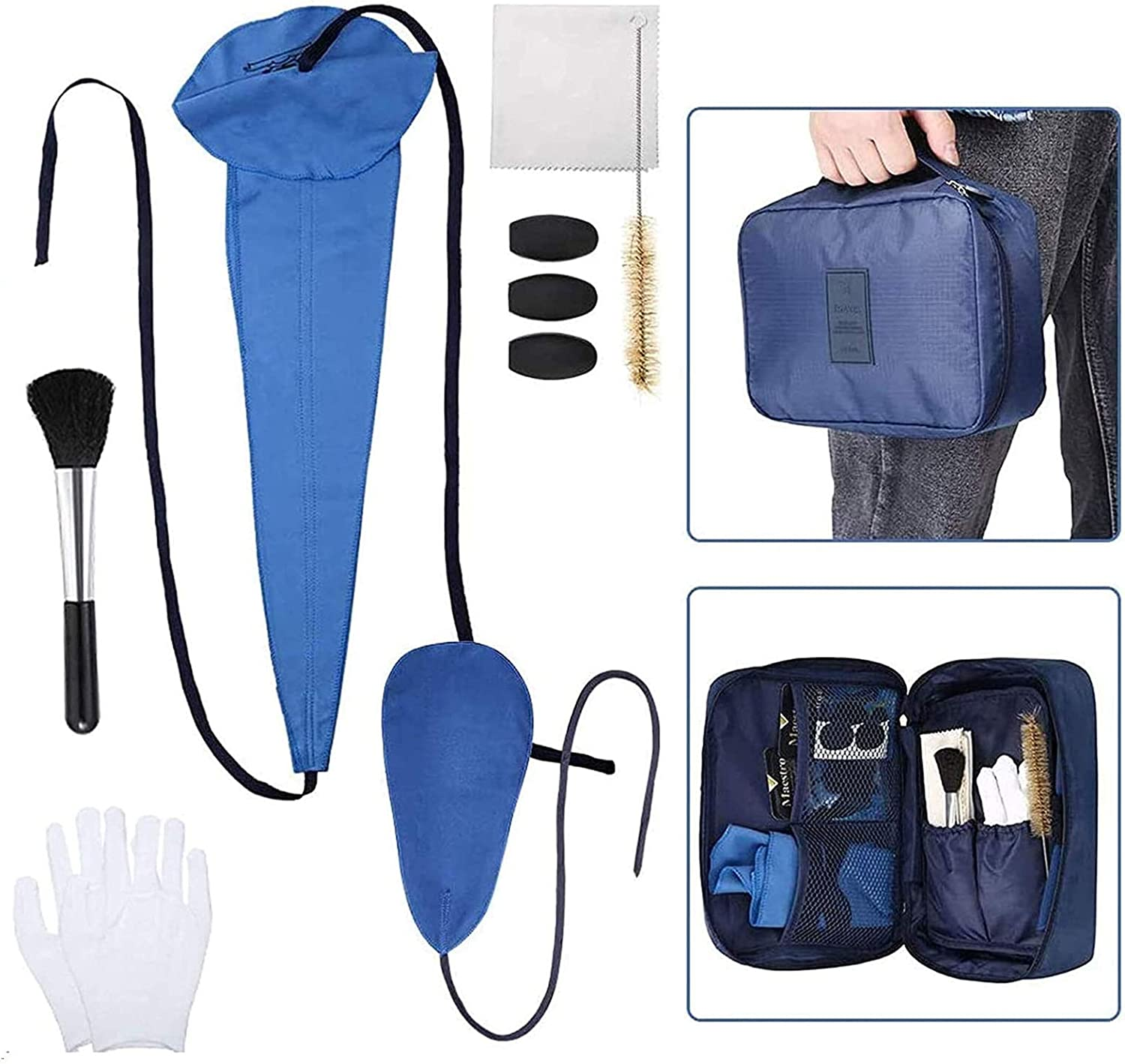 13PCS Saxophone Cleaning Kit with Bag for Flute,Alto Sax,Clarinet Instruments Cleaning Accessories Includes Cleaning Cloth,Mouthpiece Brush,Thumb Rest Cushion: Musical Instruments