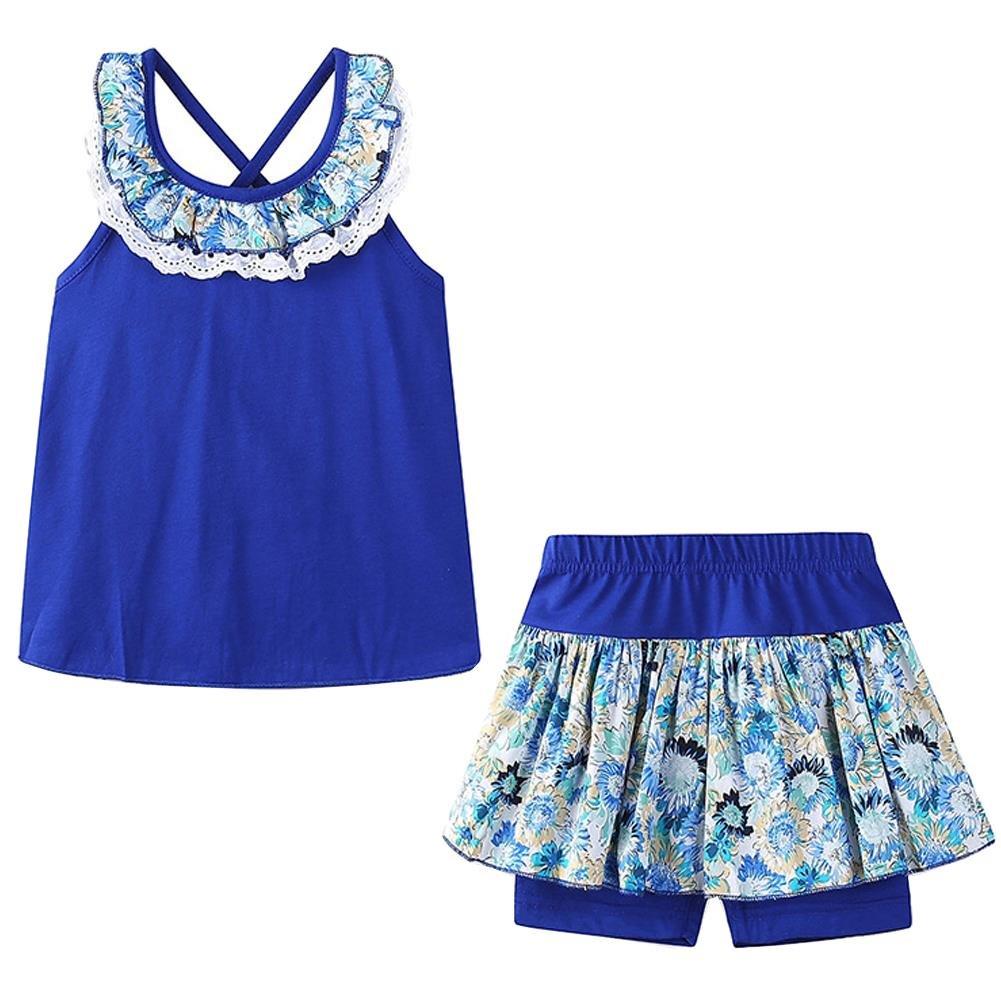 Bleubell Girls Summer Shorts Set Lace Flower Sleeveless 5T Blue