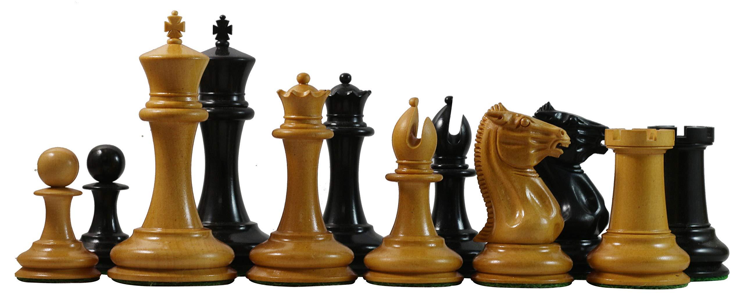 "Staunton Castle, Vintage 1849-50 Reproduction Antiqued Morphy Cooke 3.5"" Ebony Chess Design"
