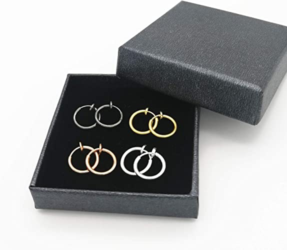 Lanxy Clip On Earrings 4PCS Different Size Gold Silver Black Rose Gold Tone 0.43IN\0.51IN\0.59IN\0.70IN 4PCS Stainless Hoop Earrings for Women Girls No Piercing