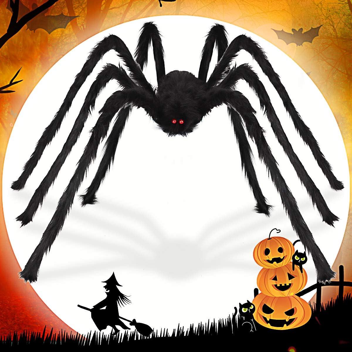 Aitey 8.5 FT Giant Spider Halloween Decorations, Outdoor Halloween Decoration Scary Fake Spider for Yard House Party Supplies Creepy Decor Black