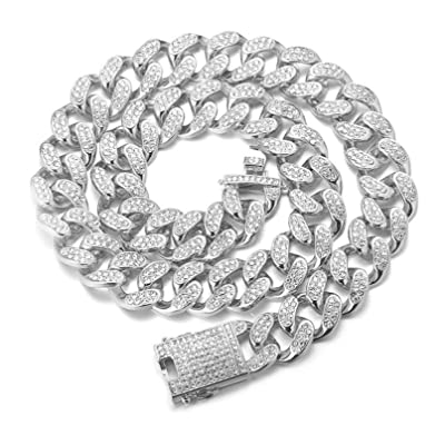 Prong Cuban Link Bracelets 20mm Diamond Iced Out Bling S-Link Gift For HIm Rapper Diamond Prong Cuban Hiphop Jewelry Iced Out
