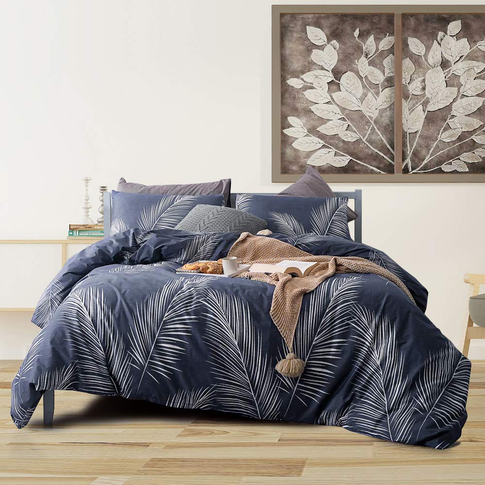mixinni Tropical 3 Pieces White Palm Leaf Print Duvet Cover Set 100% Natural Cotton Navy Blue Duvet Cover with Zipper Ties Bedding Quilt Cover for Him and Her,Easy Care,Soft,Durable-King Size