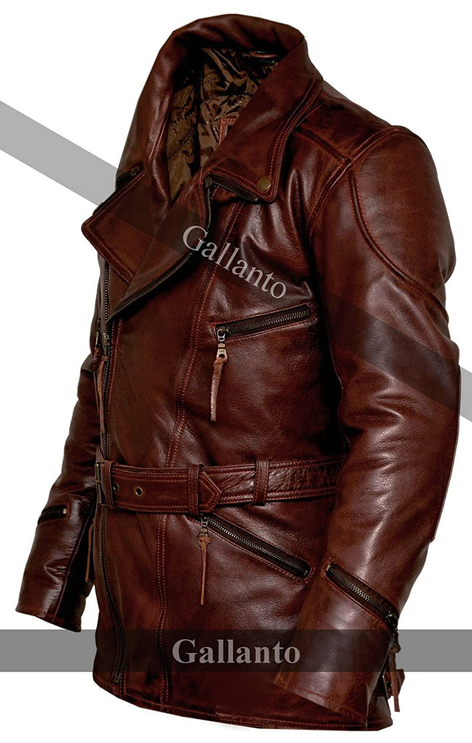 22af5dc31f2 Gallanto 3 4 Vintage Red Distressed Eddie Mens Motorcycle Biker Long Leather  Jacket Wine at Amazon Men s Clothing store