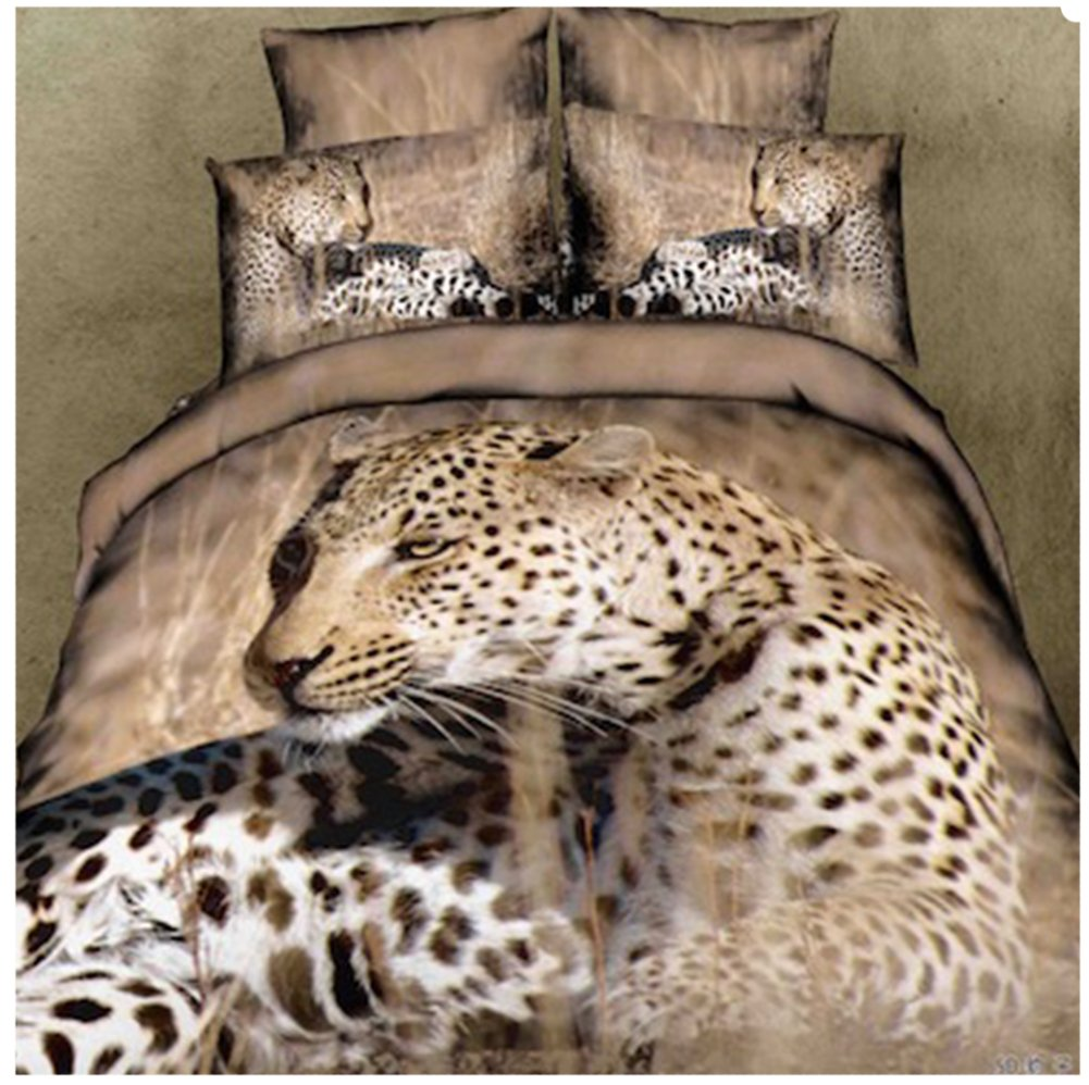 Joyloading Home Textiles 3D Printed Animals Pattern Bedclothes set including 1p sheet/1p Quilt Cover/Double Pillowcase King Size (Leopard 3)