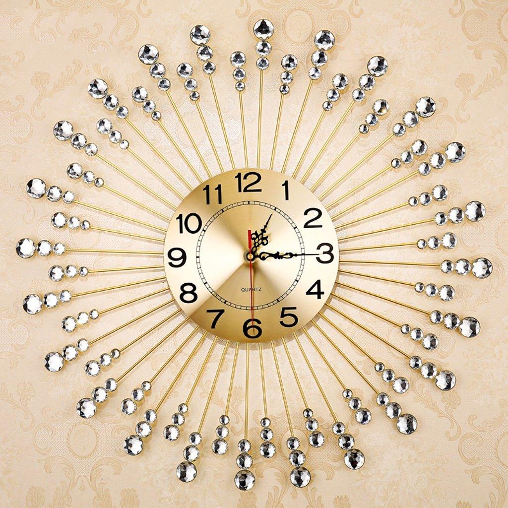 エッジへ 壁時計 ヨーロッパのファッション時計リビングルームの壁時計モダンなクリエイティブな静かなクォーツ時計、アイロン大きな壁時計 ( 色 : ゴールド ) B073339N45ゴールド