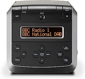 Roberts Sound 48 DAB/DAB+/FM Stereo Clock Radio with CD, Bluetooth, USB Playback/Charging - Black