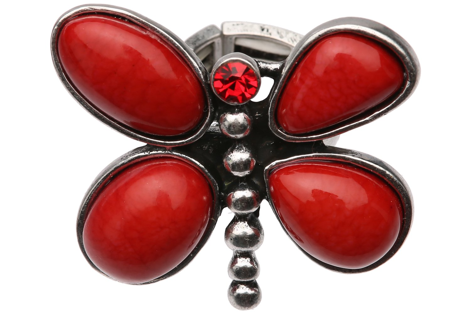 Stretch Ring - Red Stone Dragonfly