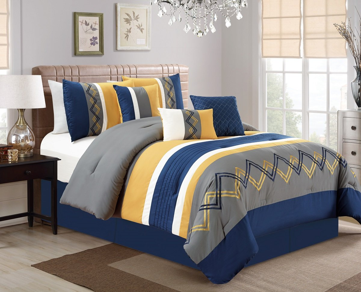 Chezmoi Collection Arden 7 Pieces Modern Pleated Stripe Embroidered Zigzag Bedding Comforter Set (Queen, Navy/Gray/Yellow/Off-White