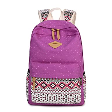16ff2aa9de Image Unavailable. Image not available for. Color  Vintage School Bags For  Teenagers Girls Schoolbag Large Capacity Lady Canvas Dot Printing Backpack