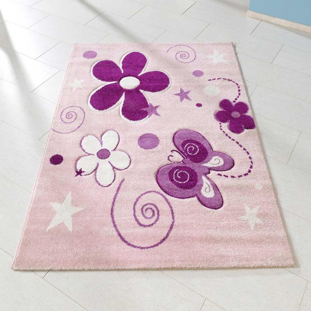Pharao24 Kinderzimmer Teppich mit Blumen und Schmetterling Weiß Rosa