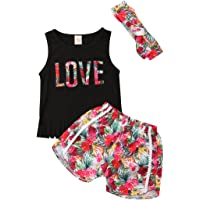 HOTWON Baby Girls Love Tassel Tank Tops Floral Shorts + Headband Outfits Clothes