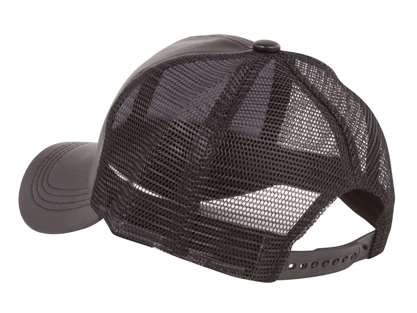 e843bc77 TOP HEADWEAR PU Leather Mesh Trucker Adjustable Snapback Hat - Black at  Amazon Men's Clothing store: