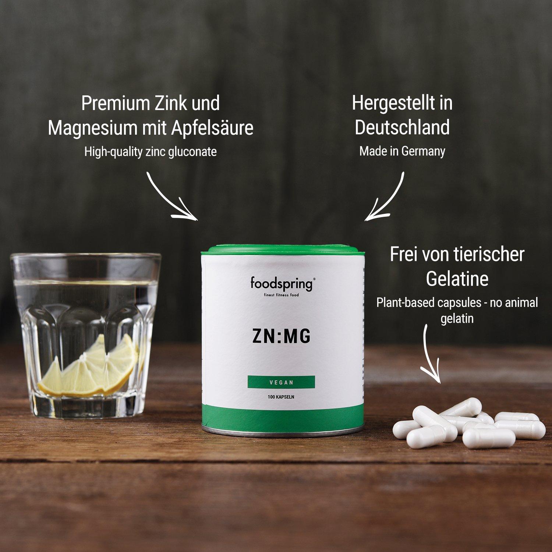 foodspring Zinc y Magnesio, 100 cápsulas, Zinc y magnesio para un mayor rendimiento: Amazon.es: Salud y cuidado personal