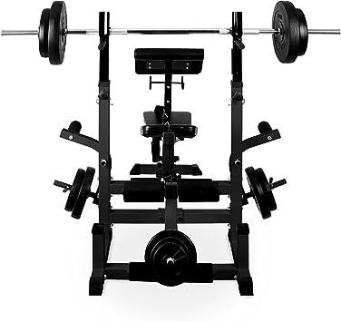 Langhantelablage Multistation Klarfit Workout Hero Arm- /& Beincurler mit Gewichtsaufnahme Hantelbank Sit Up Bank