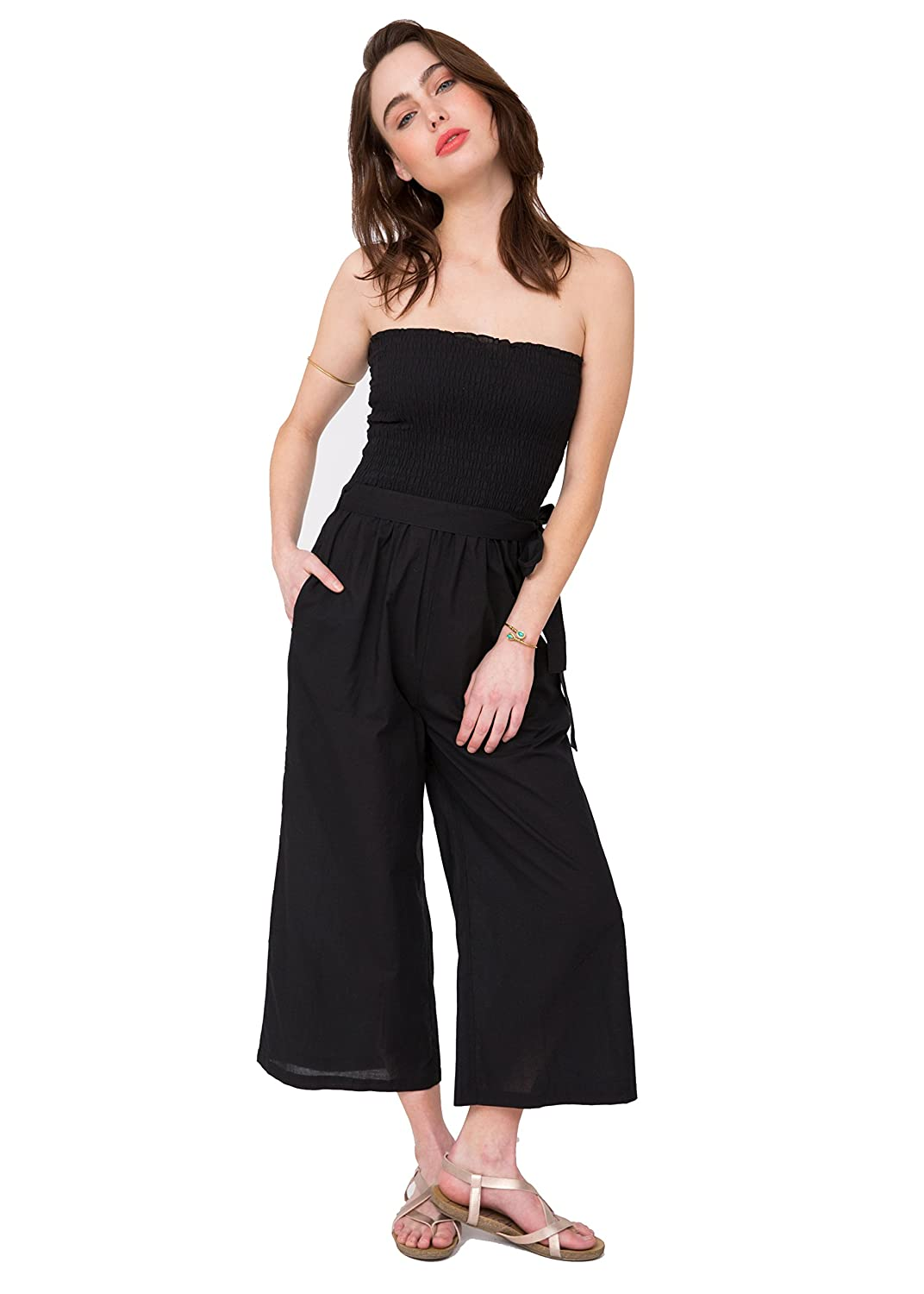 3ce3b0b04f5e likemary Cotton Culotte Jumpsuit Convertible 2 in 1 to Wide Leg Trousers:  Amazon.co.uk: Clothing