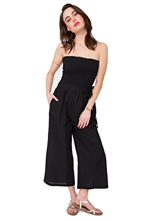 15741b795ae likemary Cotton Culotte Holiday Jumpsuit Romper   Wide Leg Pants 2 in 1  Black ...