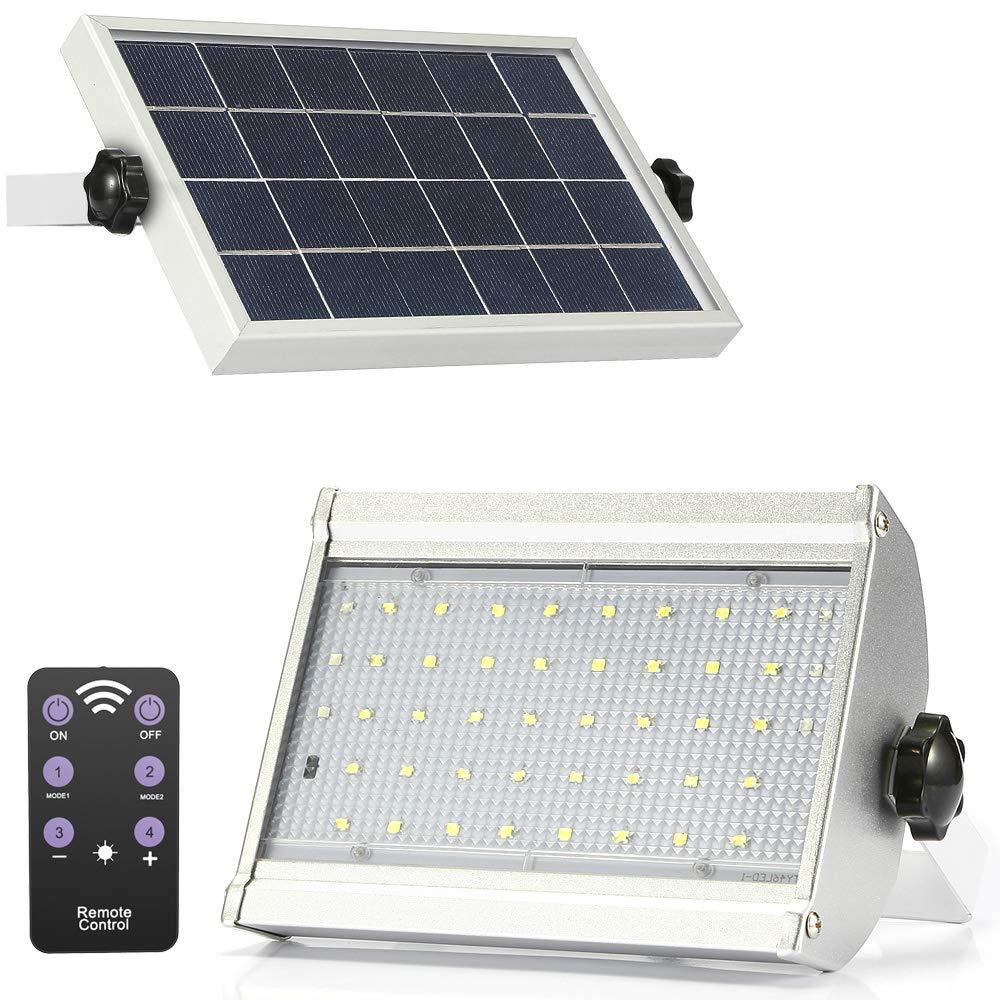 Garden Deck Garage ENGREPO Radar Solar Lights Outdoor Patio 46 LED 1000 Lumens Adjustable Wireless Motion Sensor Light With Remote Control for Yard