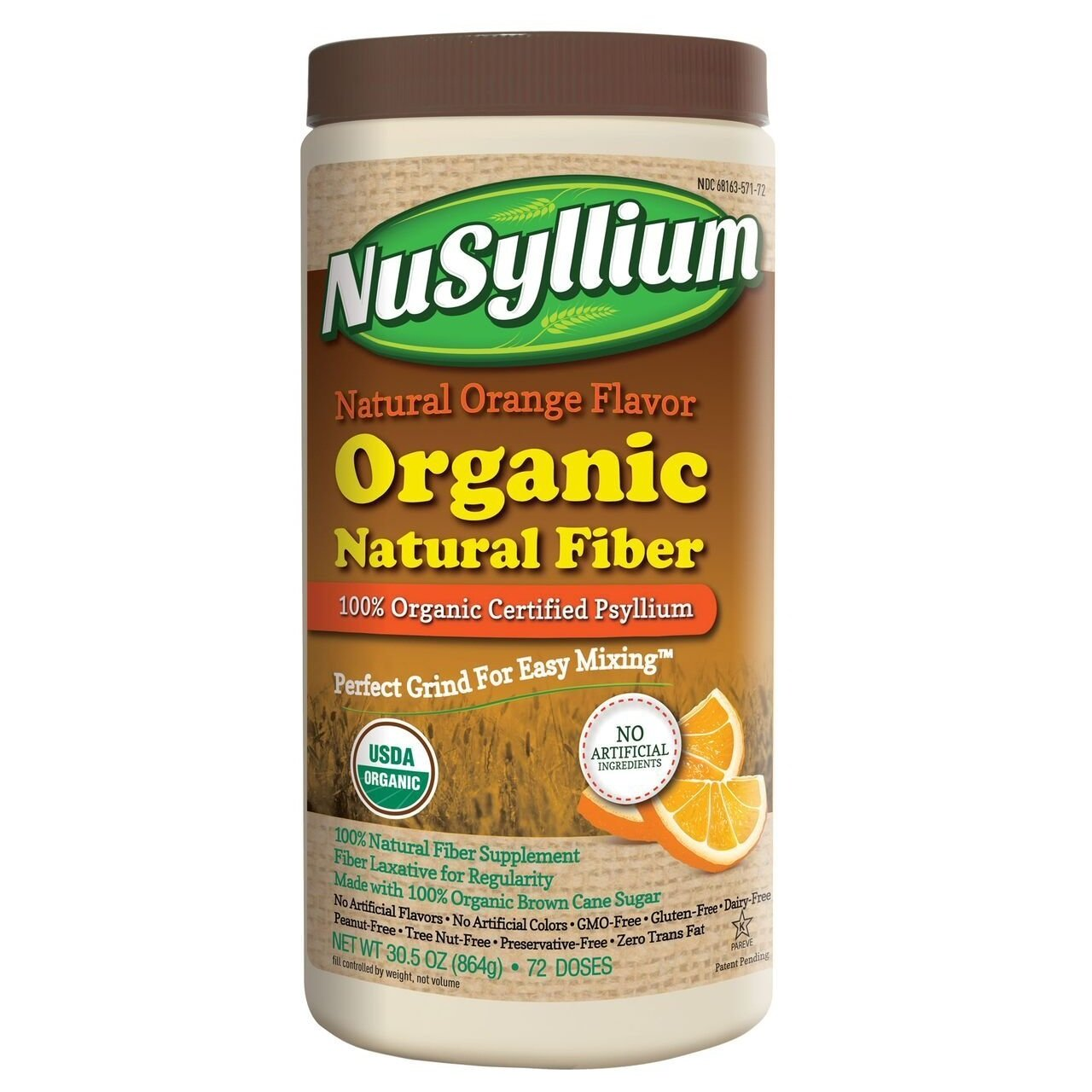 NuSyllium Orange Flavor 100% USDA Certified Organic Psyllium Husk, 72 Dose