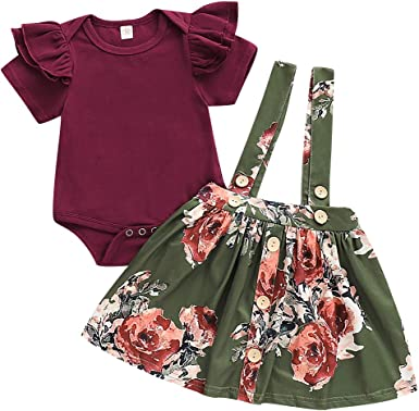 Suspender Floral Skirt Overalls Outfit Set Toddler Baby Girl Long Sleeve Top Tee