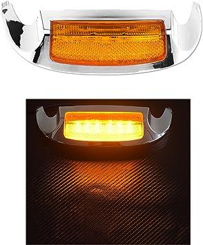 Motorcycle Chrome Front LED Fender Tip Amber Light For Harley Road Glide 2016
