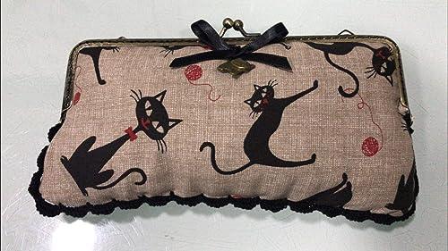 Fundas de gafas rectangular hecho a mano tela gatos negros: Amazon ...