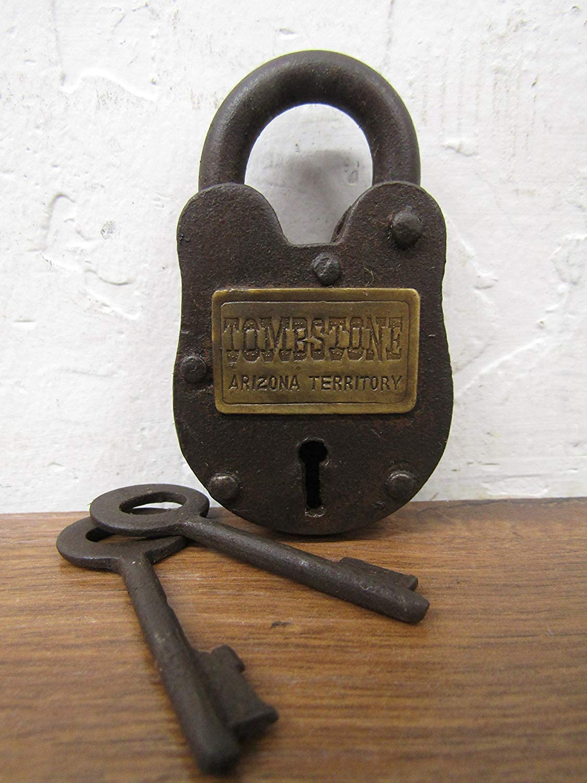 Tombstone Arizona Territorial Cast Iron Lock with 2 Keys Antique Finish Arizona