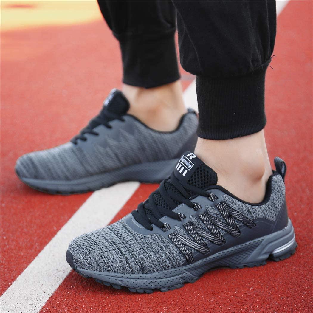 KUBUA Mens Running Shoes Womens Walking Gym Training Shoes Fitness Jogging Athletic Casual Footwear Sneaker Grey