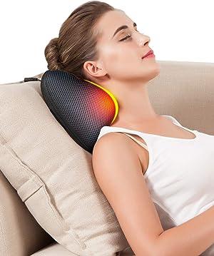 Kim Carrey 3D deep Tissue Electric Massage Pillow for Neck, Massage for Neck and Shoulder,Protable Massager Pressure Point for Neck,Shoulder,Waist,Leg,Foot,Lower Back. (Black)