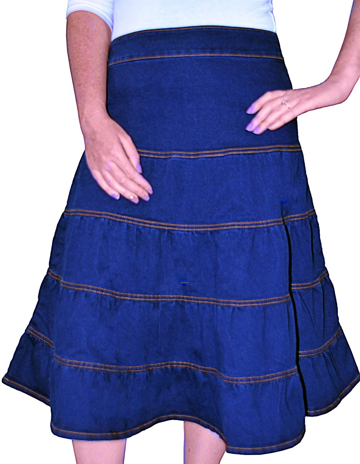 7c06a5c907 Classic tiered jeans skirt. 75% Cotton/20% Poly/5% Spandex Elastic  waistband with rear zipper closure. Below the knee A-line cut with ample  room for ...