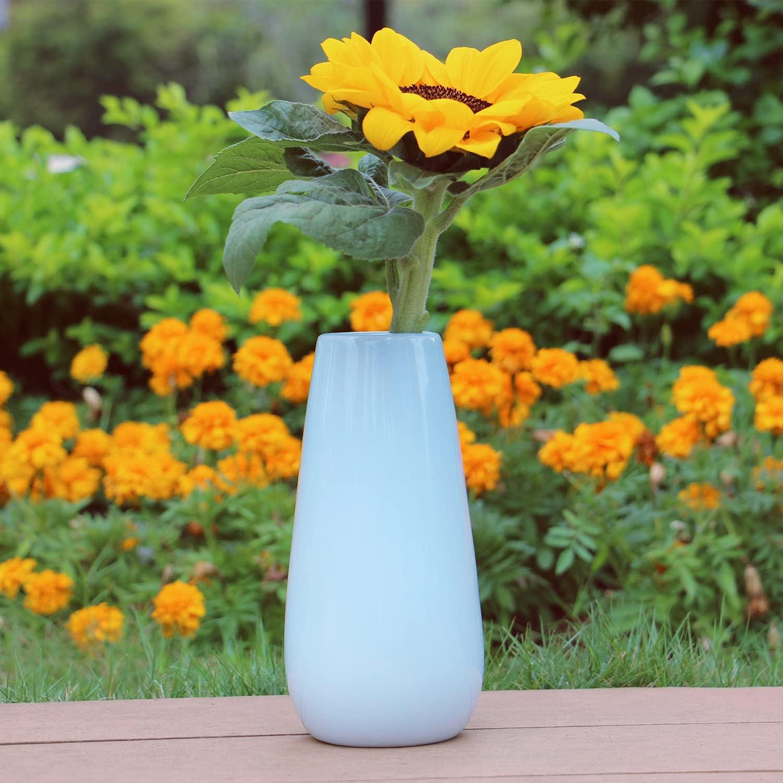 Ceramic vase, Vases for Flowers, Glossy Glazed Surface, Light Blue Flower Vase, Vases for Decor, 8.0