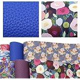 "David accessories 6 Pcs 7.8"" x 13.3"" (20 cm x 34 cm) Litchi Pattern Floral Printed Faux Leather Sheets Include 2 Kinds…"