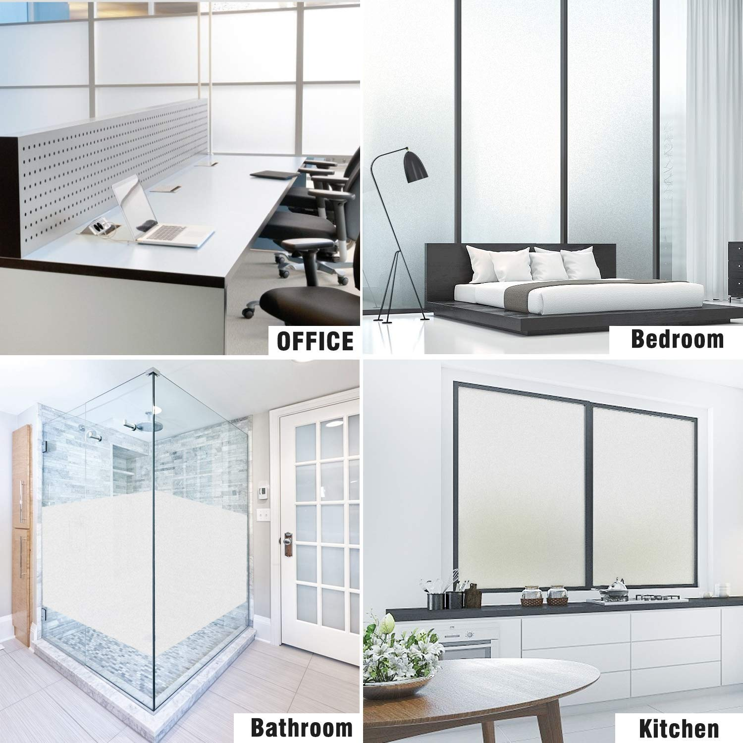 SW Privacy Matte White Window Film, White Frosted Window Sticker, Adhesive Opaque Window Tint for Home, Office, Bathroom, Meeting and Living Room, 35.4'' x10ft by SW (Image #7)